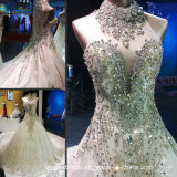Crystals Wedding Dress Cathedral Lace Bridal Wedding Ball Gown We18