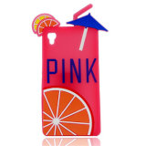 Lemon Pink Letter Rubber Simple 3D Silicone Cat Phone Case