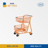 High Quality 84 L 2 Tier Grocery Shopping Cart/Double Baskets Metallic Shopping Trolley for Sale