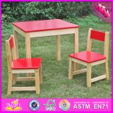 2016 Wholesale Red Wooden Kids Table and Chair Set, High Quality Wooden Kids Table and Chair Set W08g134