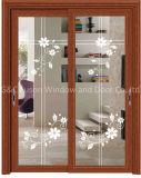 Balcony/Kitchen Sliding Glass Timber/Wooden/Wood Door (6708)