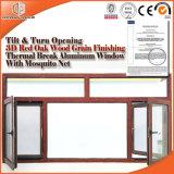 Thermal Break Aluminum Tilt & Turn Double Glazing Glass Window, 3D Red Oak Wood Grain Finishing Wood Color