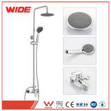 Chrome Bath Shower Faucet Set Big Rain Shower Head+ Hand Spray Mixer Tap