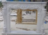 White/Yellow/Beige Marble Fireplace Mantel and Stone Fireplace