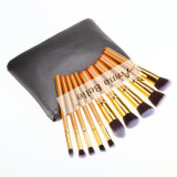 10PCS Private Label Makeup Brush with Luxury Leather Black Bag