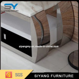 Latest Eurpean Design Modern Glass TV Stand with Stainless Steel