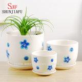 Ceramic Flowerpot Round Shape Set of 3