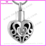 Ijd9639 Heart Stainless Steel Cremation Pendant Necklace Black Flame Crystal Inlay Ashes Keepsake Memorial Holder