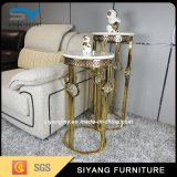 Home Furniture Glass Table Gold Metal Flower Stand