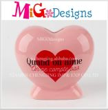 Promotional Gift Wholesale Ceramic Heart Shaped Money Saving Bank
