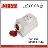 IP44 5p 63A Industrial Socket with Switches and Mechanical Interlock