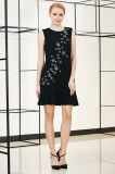Solid Pep Hem Dress with Star Shape Embroidery Through Over