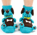 Made to Order Woman Hand Knitted Gripper Socks Cartoon Style
