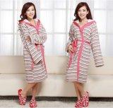 100% Cotton Women Stripes Bathrobes Sleeping Wear Nightdress