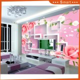 3D Pink Rose and White Square Shape for Home Decoration Oil Painting