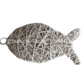 Handcrafted Customized Natural Wicker Fish Shape Home Hanging Decoration
