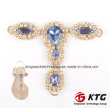The Beautiful Shining Metal Ornament for Shoes Rhinestone Acrylic T Shape Sandal Chains Decorations
