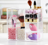 Acrylic Cosmetic Brush Holder Drawer Organizer with Makeup Blender Sponge