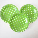"9"" Party Paper Plate, Round Polka Green DOT Paper Plates"