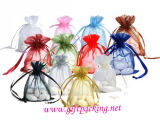 Colorful Plain Organza Promotional Drawstring Tote Gift Bag for Wedding Gift and Decoration