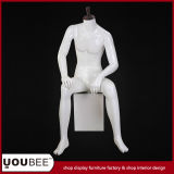 Sitting Male Fiberglass Mannequin with Square Pillar in Glossy White
