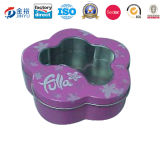 Snow Flower Shape Tin Box with Plastic Window