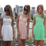 2015 Summer Women Lace Dress Backless Ladies Chiffon Dress (50098)