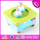 Hot New Promotional Gift Eco-Friendly Kids Wooden Toy Carousel Music Box W07b024