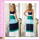 Wholesale Customized Women 100% Cotton Multi Color Striped Long Maxi Dress