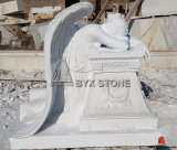Pure White Carved Marble Weeping Angel Monument Headstone