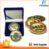 Double Sided Metal Enamel Souvenir Gold Challange Coin with Box