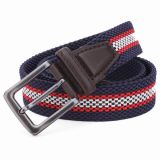Leather and Alloy Buckle Elastic Braided Man Belt (RS-131247)