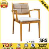New Design Wood Grain Restaurant Chair with Arm