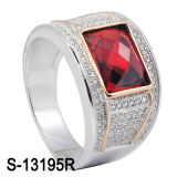 Factory Latest Model 925 Silver Man Ring with CZ Stone (S-13195R)