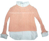 100% Cotton Knitted Girl Sweater in Round Neck Long Sleeve (C-13)