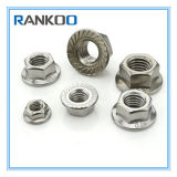 SS304 SS316 Stainlesss Steel Knurled Hex Flange Nut