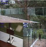 Outdoor Tempered Glass Railing with Stainless Steel Handrail