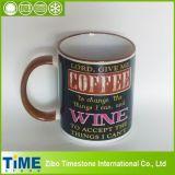 11oz Color Handle Stoneware Coffee Mugs with Writings (TMC160303)