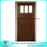 Craftsman 3 Lite Arch Stained Mahogany Prehung Front Door