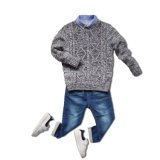 Grey Stereo Woven Pattern Pullover Sweater