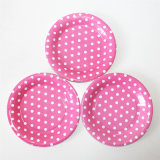 Hot Pink DOT Paper Plate with Different Designs for Party