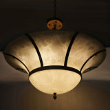 Bell Round and Brass Color Frame Faux Alabaster Shade Chandelier for Banquet Hall