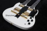 Double Neck Alpine White 12/6 Strings Sg Style Guitar (GSG-3)