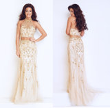 Ladies Evening Dress with Beaded Strapless and Backless Dress