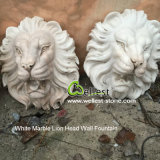 Natural Stone White Marble Handcarved Wall Fountain with Lion Head