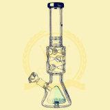 Base Beaker Oil Rig Purple Green Dual Birdcage Percolator Glass Smoking Water Pipe