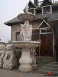 White Marble Water Fountain with Dolphin Sculpture for Outdoor Decoration