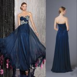 Ruched Bodice Sweetheart Crystal Beaded Navy Blue Chiffon Evening Dress
