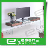 Glass LCD TV Stand with Walnut Wood Veneer Drawers