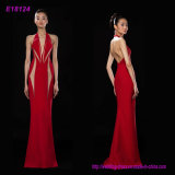 New Design V Neck Halter Lady Long Maxi Evening Dress Sleeveless